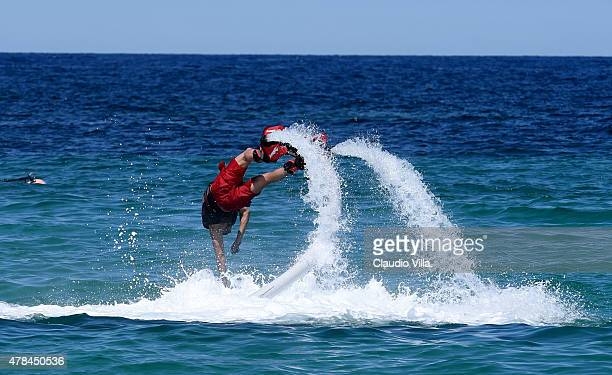 Stephan El Shaarawy performs with a flyboard on June 25, 2015 in Porto Cervo, Italy.