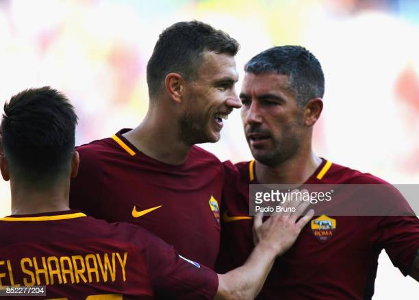 Stephan El Shaarawy with his teammate Edin Dzeko of AS Roma celebrates after scoring the team's third goal during the Serie A match between AS Roma...