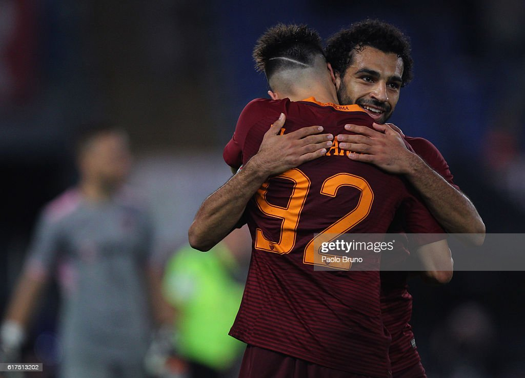 Stephan El Shaarawy with his teammate Mohamed Salah of AS Roma celebrates after scoring the team's fourth goal during the Serie A match between AS Roma and US Citta di Palermo at Stadio Olimpico on October 23, 2016 in Rome, Italy.