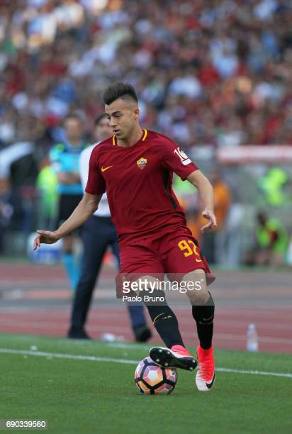 Stephan El Sharaawy af AS Roma in action during the Serie A match between AS Roma and Genoa CFC at Stadio Olimpico on May 28 2017 in Rome Italy