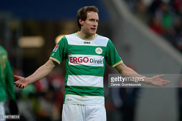 Stephan Fuerstner of Fuerth reacts during the Bundesliga match between FC Bayern Muenchen and SpVgg Greuther Fuerth at Allianz Arena on January 19...