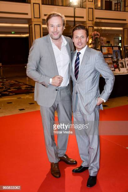 Stephan Grossmann and German actor Roman Knizka during the Aline Reimer Foundation Gala on July 7 2018 in Berlin Germany