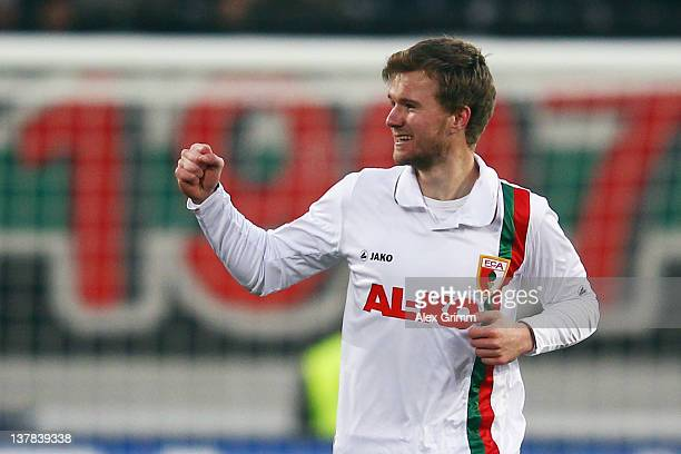 Stephan Hain of Augsburg celebrates his team's second goal during the Bundesliga match between FC Augsburg and 1. FC Kaiserslautern at SGL Arena on...