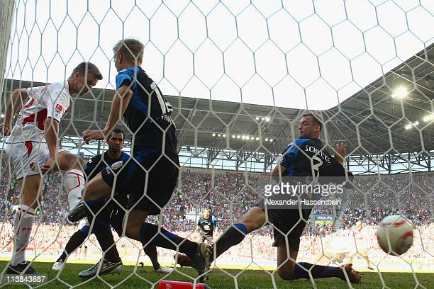 Stephan Hain of Augsburg scores the winning goal during the Second Bundesliga match between FC Augsburg and FSV Frankfurt at Impuls Arena on May 8...