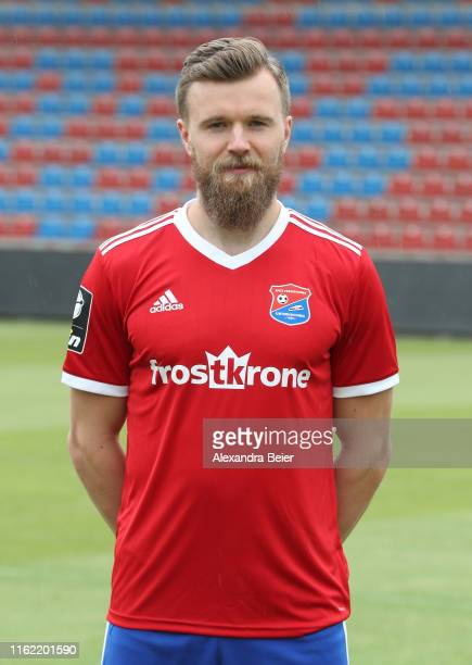 Stephan Hain of SpVgg Unterhaching poses during the team presentation at the club's Sportpark stadium on July 11, 2019 in Unterhaching, Germany.