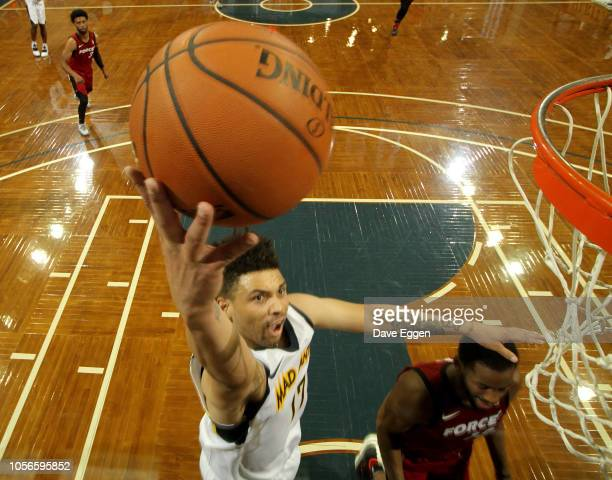 Stephan Hicks from the Fort Wayne Mad Ants lays the ball up for two points against the Sioux Falls Skyforce during an NBA GLeague game on November 2...