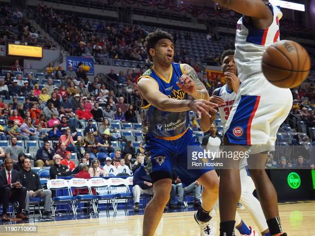 Stephan Hicks of the Fort Wayne Mad Ants battles a Grand Rapids Drive defender on December 28 2019 at Memorial Coliseum in Fort Wayne Indiana NOTE TO...