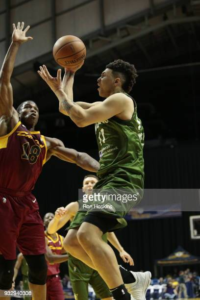 Stephan Hicks of the Fort Wayne Mad Ants battles Gerald Beverly of the Canton Charge on March 16 2018 at Memorial Coliseum in Fort Wayne Indiana NOTE...