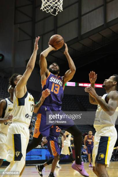 Stephan Hicks of the Fort Wayne Mad Ants battles Xavier Silas of the Northern Arizona Sunns during their NBDL game at Memorial Coliseum on November...