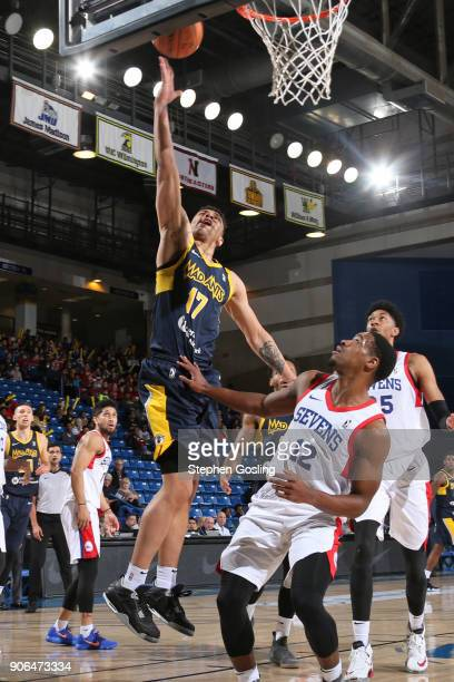 Stephan Hicks of the Fort Wayne Mad Ants drives to the basket against the Delaware 87ers during a GLeague at the Bob Carpenter Center in Newark...