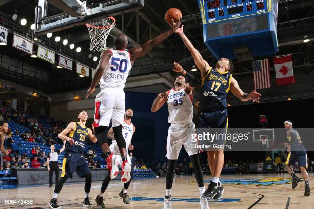 Stephan Hicks of the Fort Wayne Mad Ants grabs the rebound against the Delaware 87ers during a GLeague at the Bob Carpenter Center in Newark Delaware...