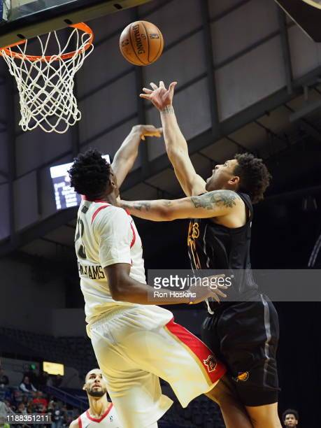 Stephan Hicks of the Fort Wayne Mad Ants shoots the ball against Kavell BigbyWilliams of the Erie Bayhawks on December 13 2019 at Memorial Coliseum...