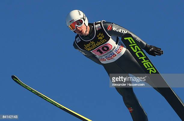 Stephan Hocke of Germany soars at the practice round for the first round of the FIS Ski Jumping World Cup at the 57th Four Hills Skijumping...