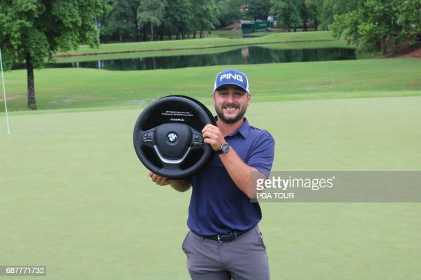 MAY 21 Stephan Jaeger holds the trophy during the Webcom Tour BMW Charity ProAm presented by SYNNEX Corporation at Thornblade Club on May 21 2017 in...