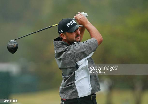 Stephan Jaeger watches his tee shot on the sixth hole during the first round of the Sanderson Farms Championship at the Country Club of Jackson on...