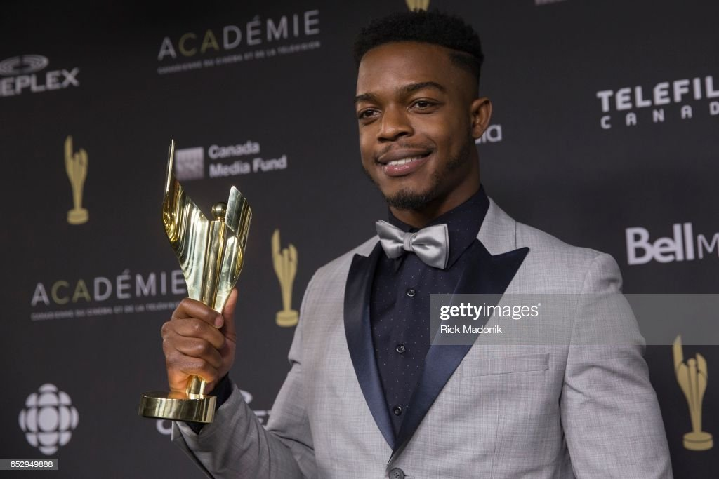 Stephan James for his role in Race. Canadian Screen Awards red carpet at Sony Centre for the Performing Arts ahead of the show.