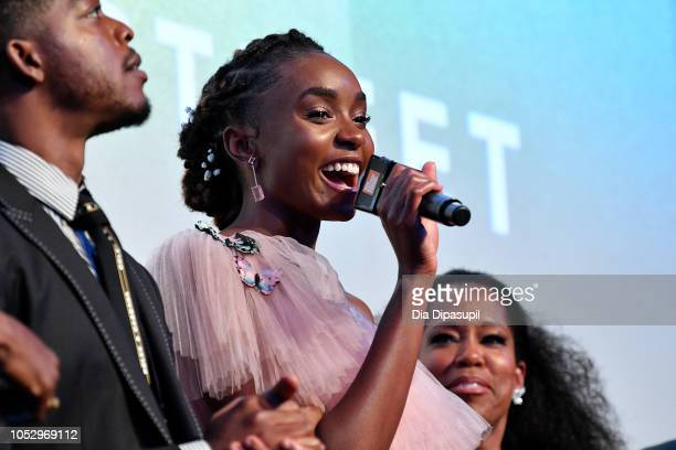 Stephan James KiKi Layne and Regina King speak onstage at the 'If Beale Street Could Talk' US premiere QA during the 56th New York Film Festival at...