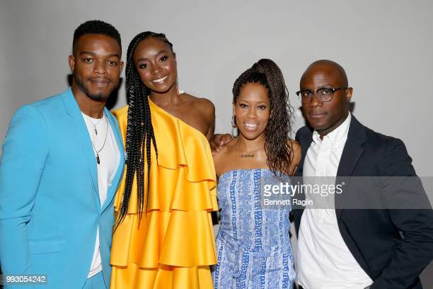 Stephan James KiKi Layne Regina King and Barry Jenkins attend 'If Beale Street Could Talk' Movie Cast and Filmmakers at Essence Festival 2018 on July...