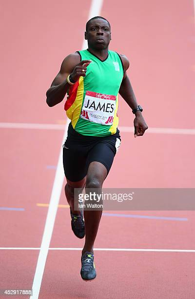 Stephan James of Guyana competes in the Men's 200 metres heats at Hampden Park during day seven of the Glasgow 2014 Commonwealth Games on July 30...
