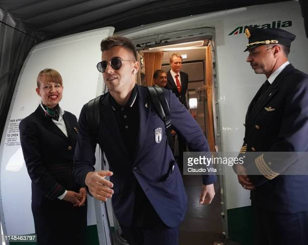 Stephan Kareem El Shaarawy of Italy arrives in Athens ahead of the European Championship qualifier against Greece on June 7, 2019 in Athens, Greece.