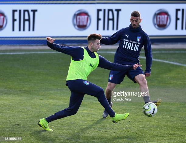 Stephan Kareem El Shaarawy of Italy in action during a training session at Centro Tecnico Federale di Coverciano on March 19 2019 in Florence Italy