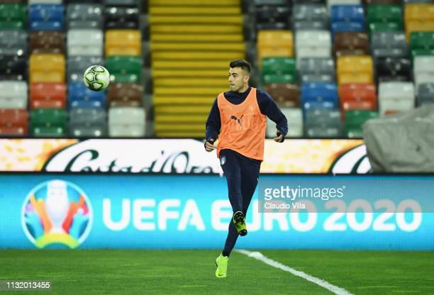 Stephan Kareem El Shaarawy of Italy in action during a training session at Stadio Friuli-Dacia Arena on March 22, 2019 in Udine, Italy.