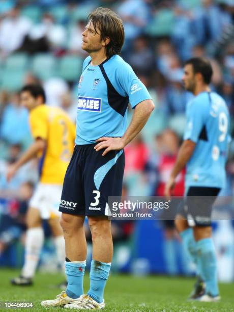 Stephan Keller of Sydney looks dejected at the final whistle after Sydney draw with Gold Coast during the round eight ALeague match between Sydney FC...