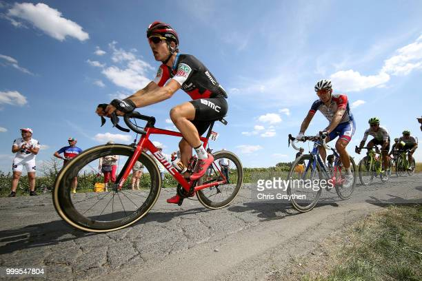 Stephan Kung of Switzerland and BMC Racing Team / Arnaud Demare of France and Team Groupama FDJ / Willems À Hem Cobbles Sector 1 / Pave / Fans /...