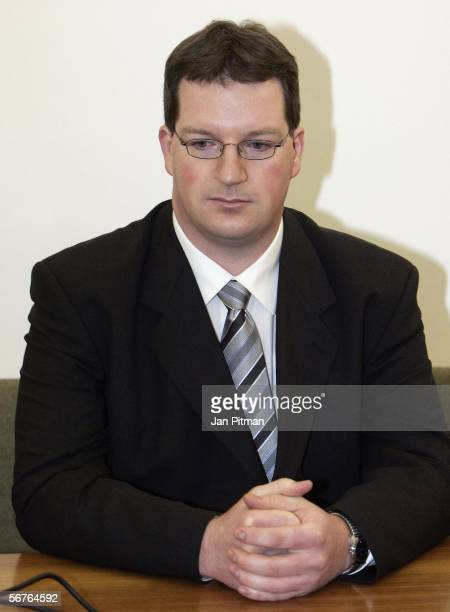 Stephan L sits in a court room at the beginning of his trial on February 7 2006 in Kempten Germany Hospital nurse Stephan L is accused of killing 29...