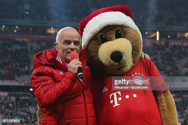 Stephan Lehmann stadium announcer and mascot Bernie of Muenchen pose prior to the round of 16 DFB Cup match between FC Bayern Muenchen and Darmstadt...