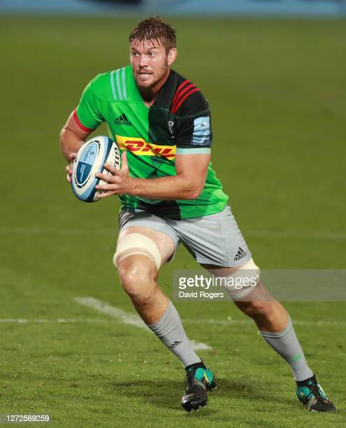 Stephan Lewies of Harlequins breaks with the ball during the Gallagher Premiership Rugby match between Gloucester Rugby and Harlequins at Kingsholm...