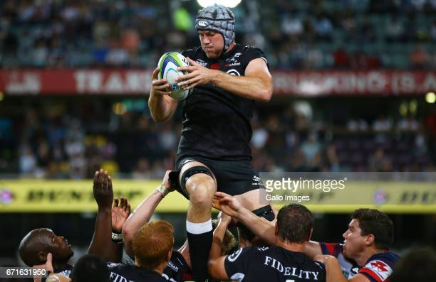 Stephan Lewies of the Cell C Sharks during the Super Rugby match between Cell C Sharks and Rebels at Growthpoint Kings Park on April 22 2017 in...
