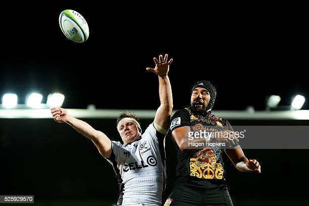 Stephan Lewies of the Sharks and Taleni Seu of the Chiefs compete for a lineout ball during the round 10 Super Rugby match between the Chiefs and the...