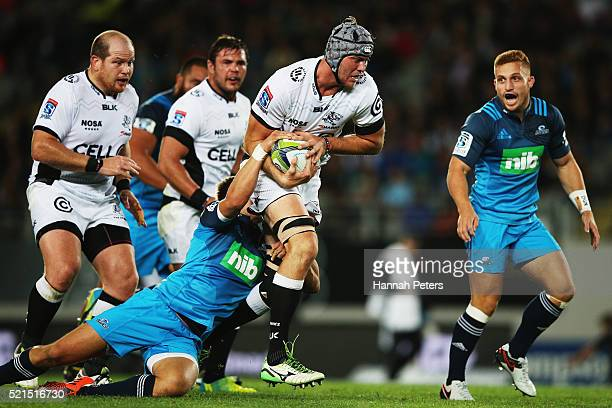 Stephan Lewies of the Sharks charges forward during the round eight Super Rugby match between the Blues and the Sharks at Eden Park on April 16 2016...