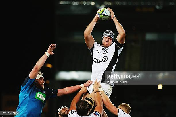 Stephan Lewies of the Sharks wins lineout ball during the round eight Super Rugby match between the Blues and the Sharks at Eden Park on April 16...