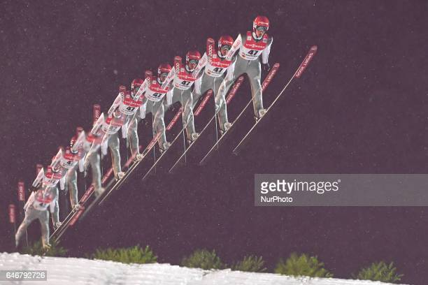 Stephan Leyhe from Germany during Men Large Hill Individual qualification round in ski jumping at FIS Nordic World Ski Championship 2017 in Lahti On...