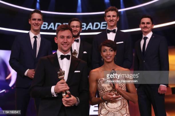 "Stephan Leyhe, Markus Eisenbichler, Karl Geiger and Richard Freitag of Team Skispringen are awarded as the team ""Sportler des Jahres"" with Niklas..."