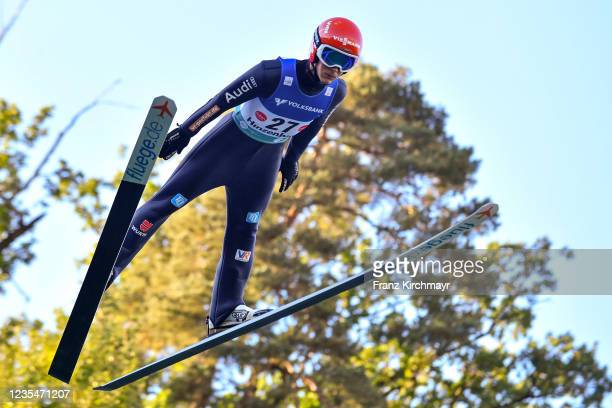 Stephan Leyhe of Germany competes during the FIS Grand Prix Skijumping Hinzenbach at on February 6, 2021 in Eferding, Austria.