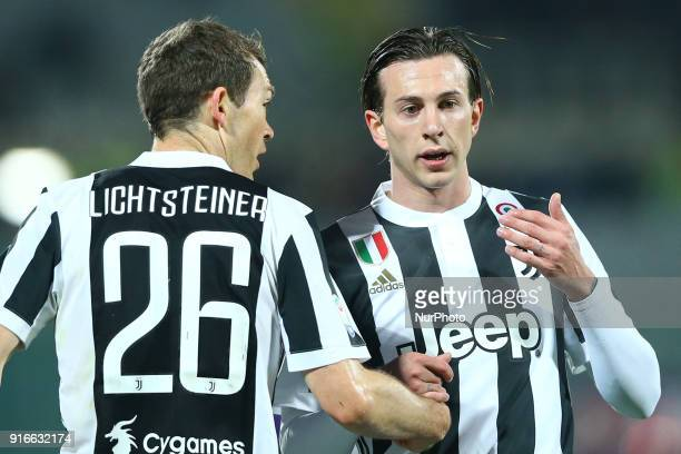 Stephan Lichtsteiner and Federico Bernardeschi of Juventus during the serie A match between ACF Fiorentina and Juventus at Stadio Artemio Franchi on...