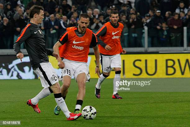 Stephan Lichtsteiner and Leonardo Bonucci before the Serie A match between Juventus FC and Empoli at Juventus Stafium on April 4, 2015 in Turin,...
