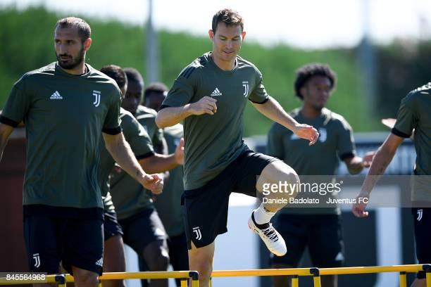 Stephan Lichtsteiner during a Juventus training session at Juventus Center Vinovo on September 11 2017 in Vinovo Italy