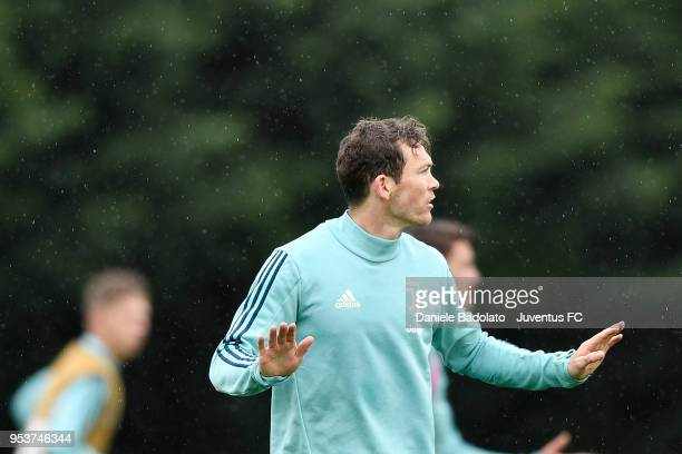 Stephan Lichtsteiner during the Juventus training session at Juventus Center Vinovo on May 2 2018 in Vinovo Italy