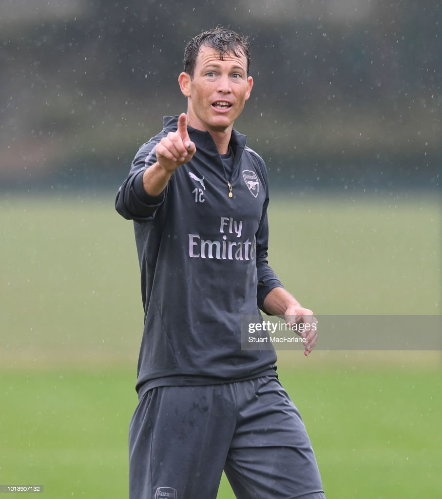Stephan Lichtsteiner of Arsenal during a training session at London Colney on August 10, 2018 in St Albans, England.