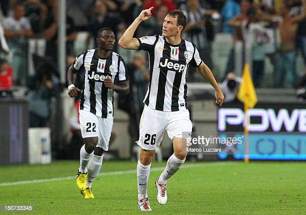 Stephan Lichtsteiner of Juventus FC celebrates after scoring the opening goal during the Serie A match between Juventus and Parma FC at Juventus...
