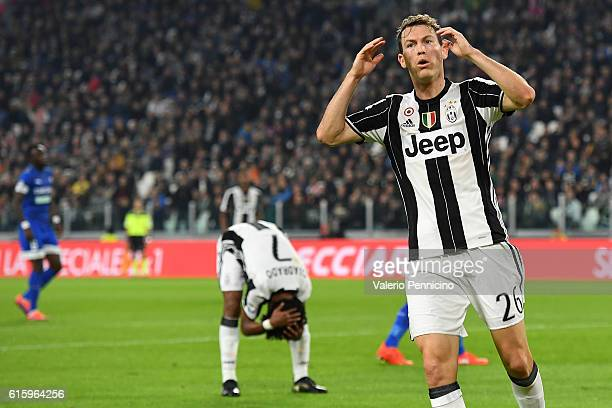 Stephan Lichtsteiner of Juventus FC reacts during the Serie A match between Juventus FC and Udinese Calcio at Juventus Stadium on October 15 2016 in...