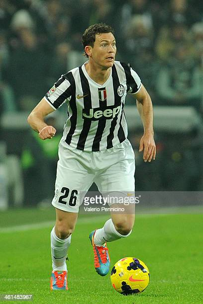 Stephan Lichtsteiner of Juventus in action during the Serie A match between Juventus and AS Roma at Juventus Arena on January 5 2014 in Turin Italy