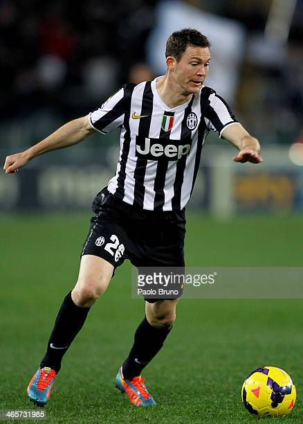 Stephan Lichtsteiner of Juventus in action during the Serie A match between SS Lazio and Juventus at Stadio Olimpico on January 25 2014 in Rome Italy