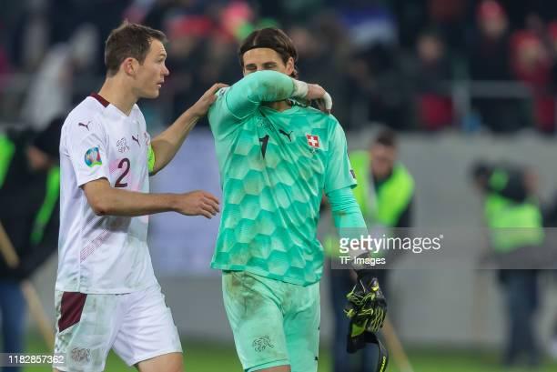 Stephan Lichtsteiner of Switzerland and goalkeeper Yann Sommer of Switzerland #eg#s during the UEFA Euro 2020 Qualifier between Switzerland and...