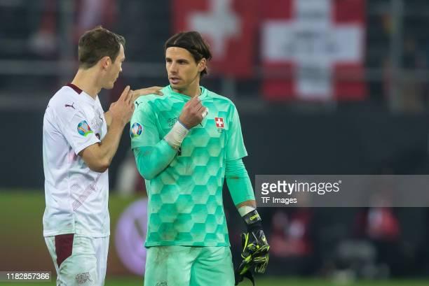 Stephan Lichtsteiner of Switzerland and goalkeeper Yann Sommer of Switzerland gestures during the UEFA Euro 2020 Qualifier between Switzerland and...