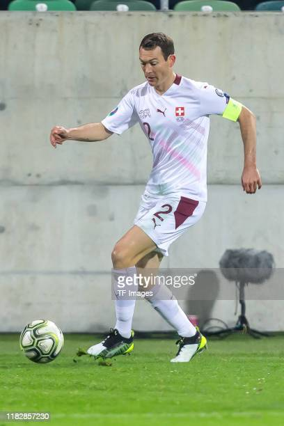 Stephan Lichtsteiner of Switzerland controls the ball during the UEFA Euro 2020 Qualifier between Switzerland and Georgia on November 15 2019 in St...